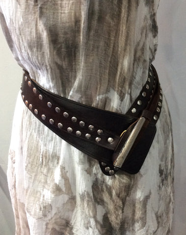 Belts-Leather Wide Width with Nail Head Design