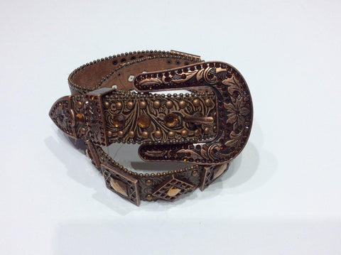 Belts-Wide Copper Leather Tooled Belt with Geometric Crystal Embellishment