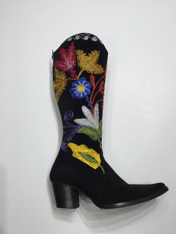 Specialty Cheyenne style brushed leather boot with Suzani shaft