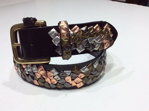 Belts-Wide Leather with Brass, Copper, Pewter and Silver Metal Embellieshment