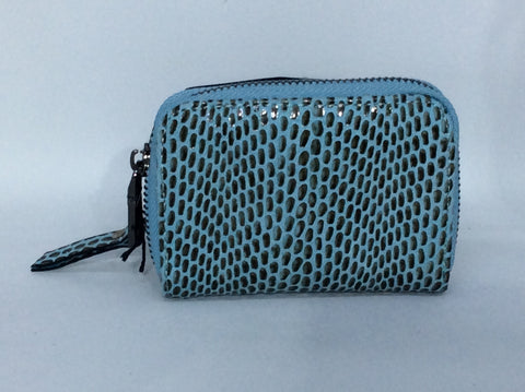 Little change purse in blue reptile embossed leather, matching wallet too