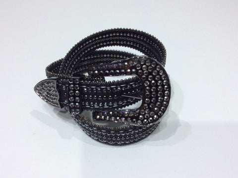Belts-Wide Leather Belt with Crystal, Bead and Stud Embellishment