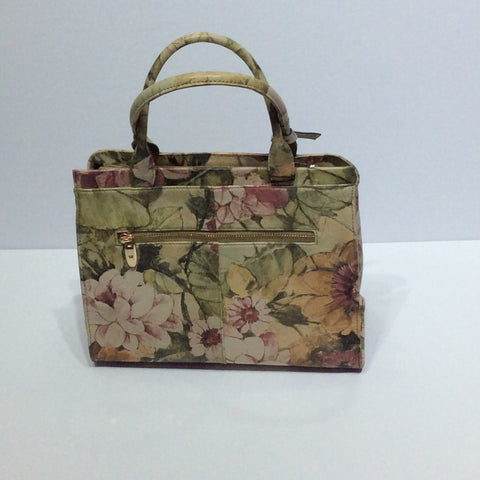 Floral pattern Italian leather purse
