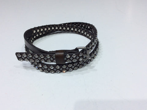 Belts-Narrow Width Brown Leather Belt with 2 Rows of Clear Crystals