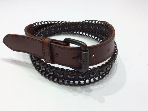 Belts-Medium Width Brown Leather Belt with Metal Link Embellishment