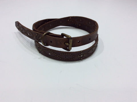 Belts-Medium Width Distressed Brown Leather Belt with Black and Clear Crystals and Rubbed Bronze Embellishments