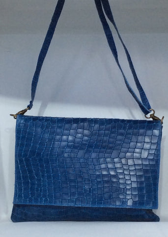 Croc Embossed Italian Leather Messenger Bag