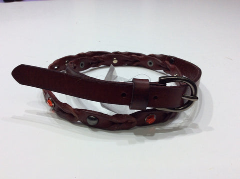 Belts-Narrow Width Leather with a Little Bit of Braid and Crystals
