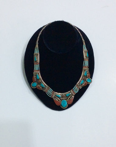 Necklace-Coral, Silver and Turquoise
