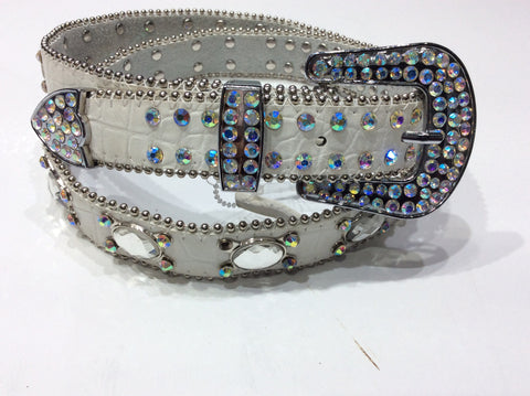 Belts-Medium Width White Leather Belt with Beautiful Crystal and Silver Bead Embellishment