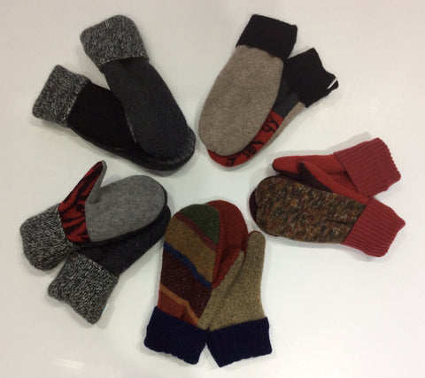 Wool Mittens Handcrafted from Reclaimed Sweaters