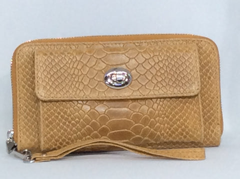Croc Textured Italian Leather Wristlet Wallet