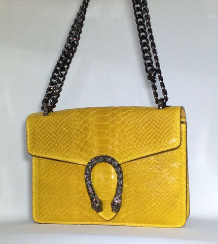 Croc Textured Italian Purse with Metal Snake Accent