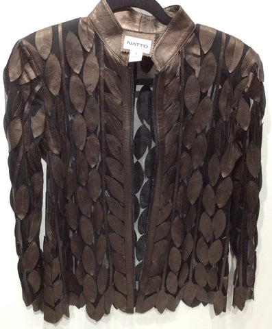 Laser cut lamb skin leather jacket leaf pattern