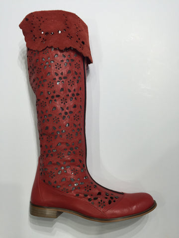 Specialty laser cut red leather boots with knee high cuff front entry zipper
