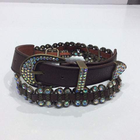 Belts-Wide Brown Leather with Crystal and Bronze Embellishments