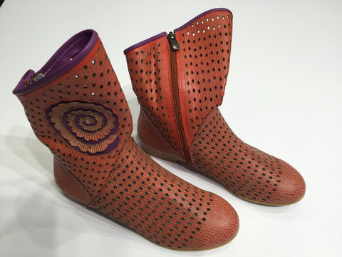 Specialty laser cut leather summer boot