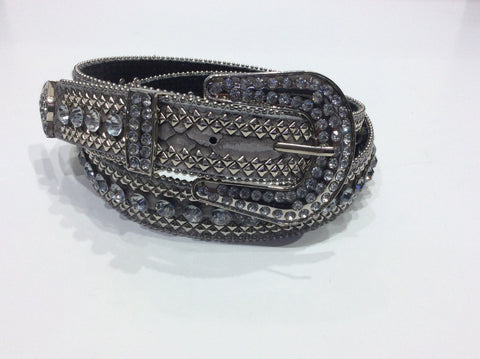 Belts-Wide Silver Leather with Silver Bead, Stud and Crystal Embellishment