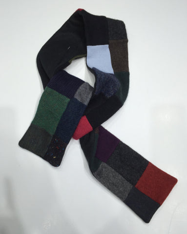 Wool handcrafted luxurious scarf made from reclaimed sweaters, felt lined