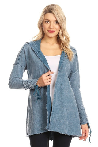Denim Blue Knit Jacket with Hood