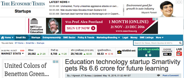 Smartivity In The News Economic Times