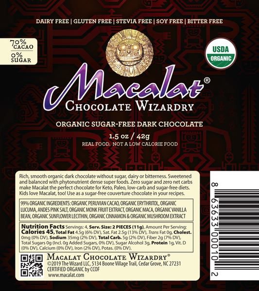 Macalat Chocolate Wizardry label