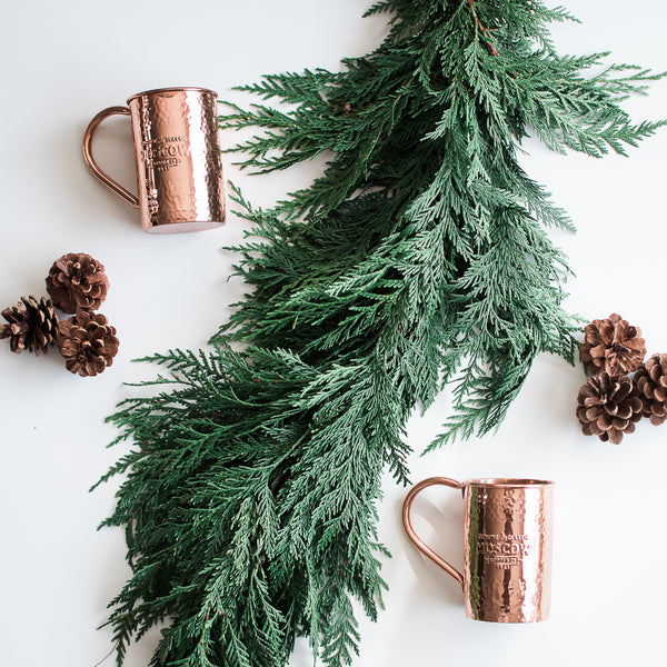 Moscow mule mug with Christmas decorations