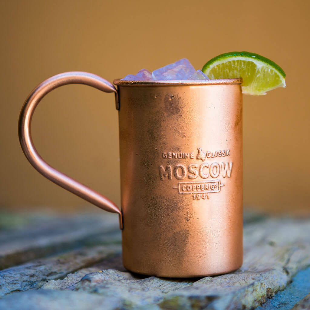 A frosty Moscow Mule is made even more refreshing when served in a Moscow Copper Co. original copper mug.