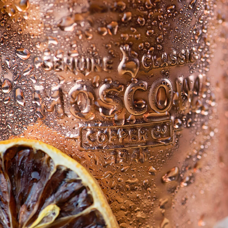Know you've got a true original when you see the Moscow Copper Co. logo engraved on your hammered copper mug.