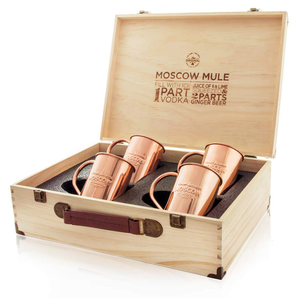 Set of 4 100% Original Moscow Copper Co. mugs in a beautiful pine gift box.