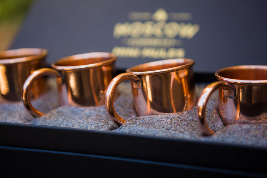 Four-pack set of two-ounce Mini Mules. Perfect for entertaining a crowd!