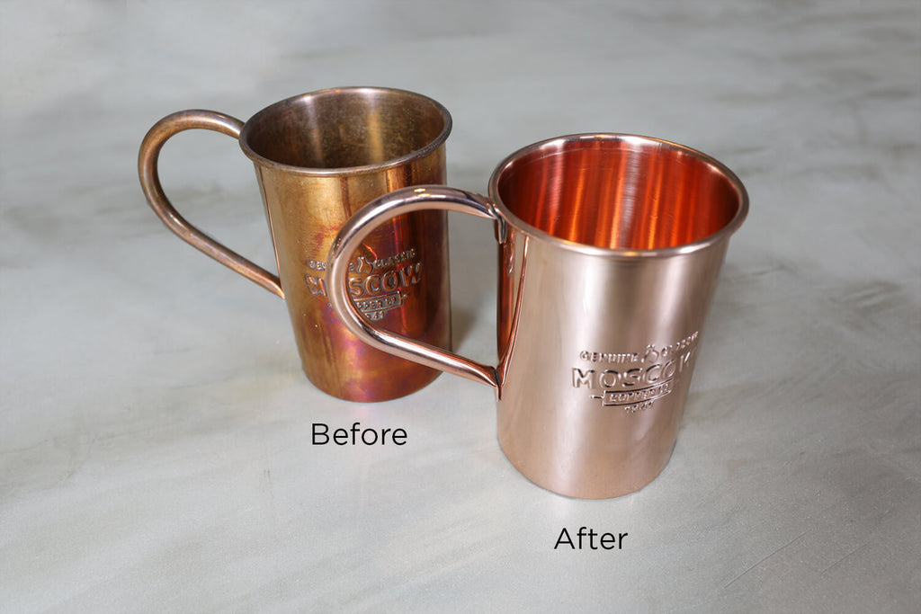 Before and after photos of a copper mug cleaned with Grandma Sophie's Copper Cleaner.
