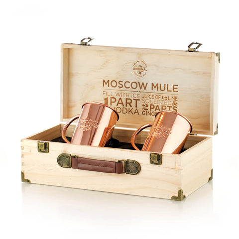 Two 100% Original Moscow Copper Co. mugs in a beautiful pine gift box.
