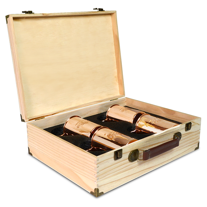 Four pack of the Original Moscow Copper Co. mule mugs in a solid pine box.