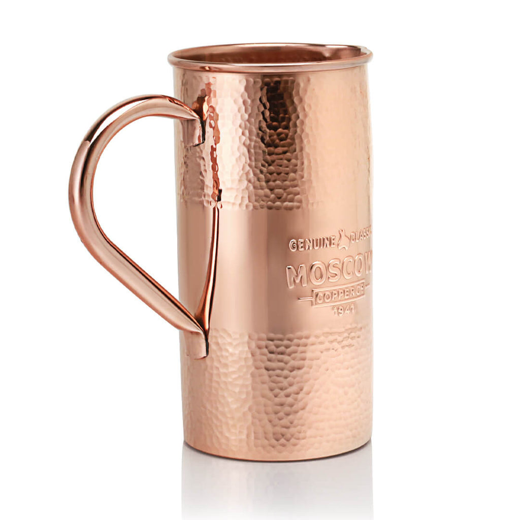Moscow Copper Co.'s Hammered Copper Pitcher holds up to 54 fluid ounces.