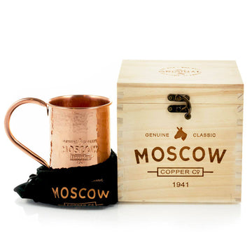 Order the Moscow Copper Co. hammered mug with a beautiful wooden box to make the perfect gift.