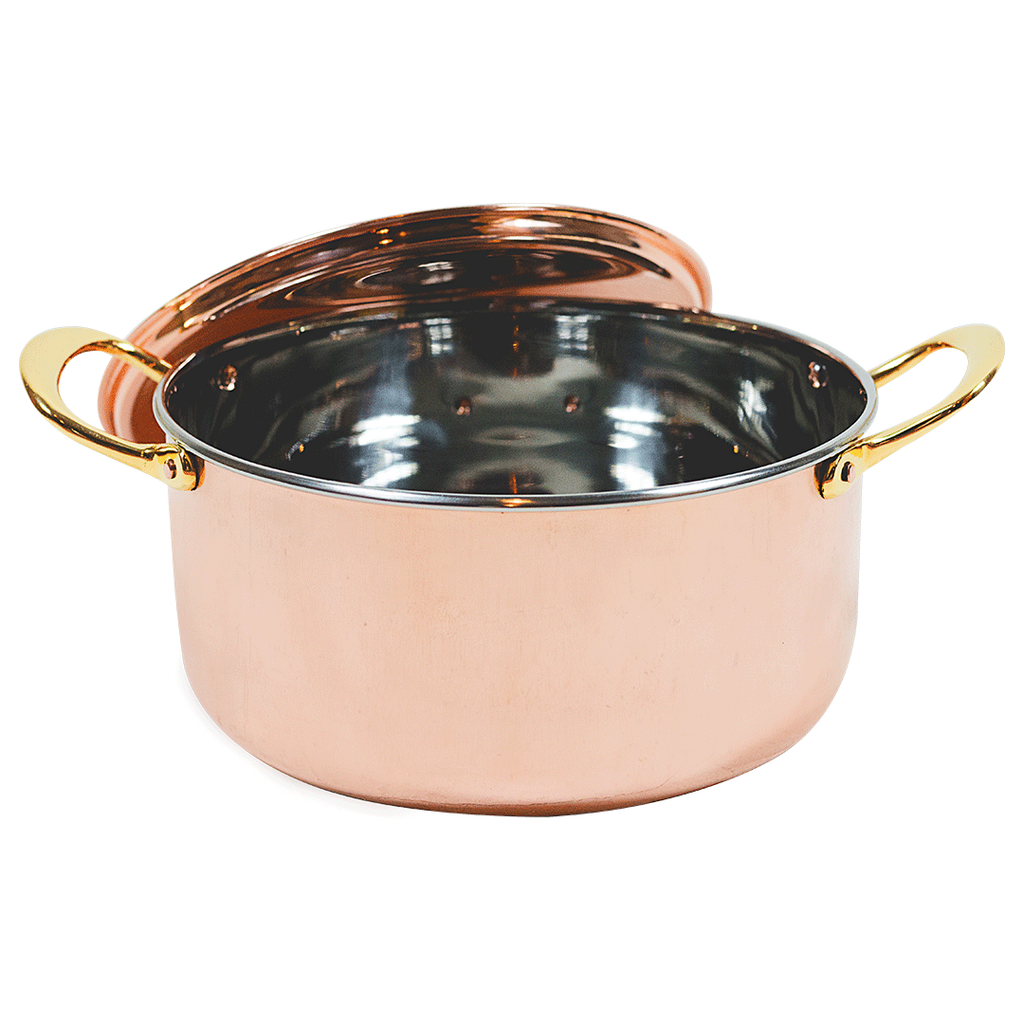 The Mollie Collection 10-inch copper stew pot with lid.