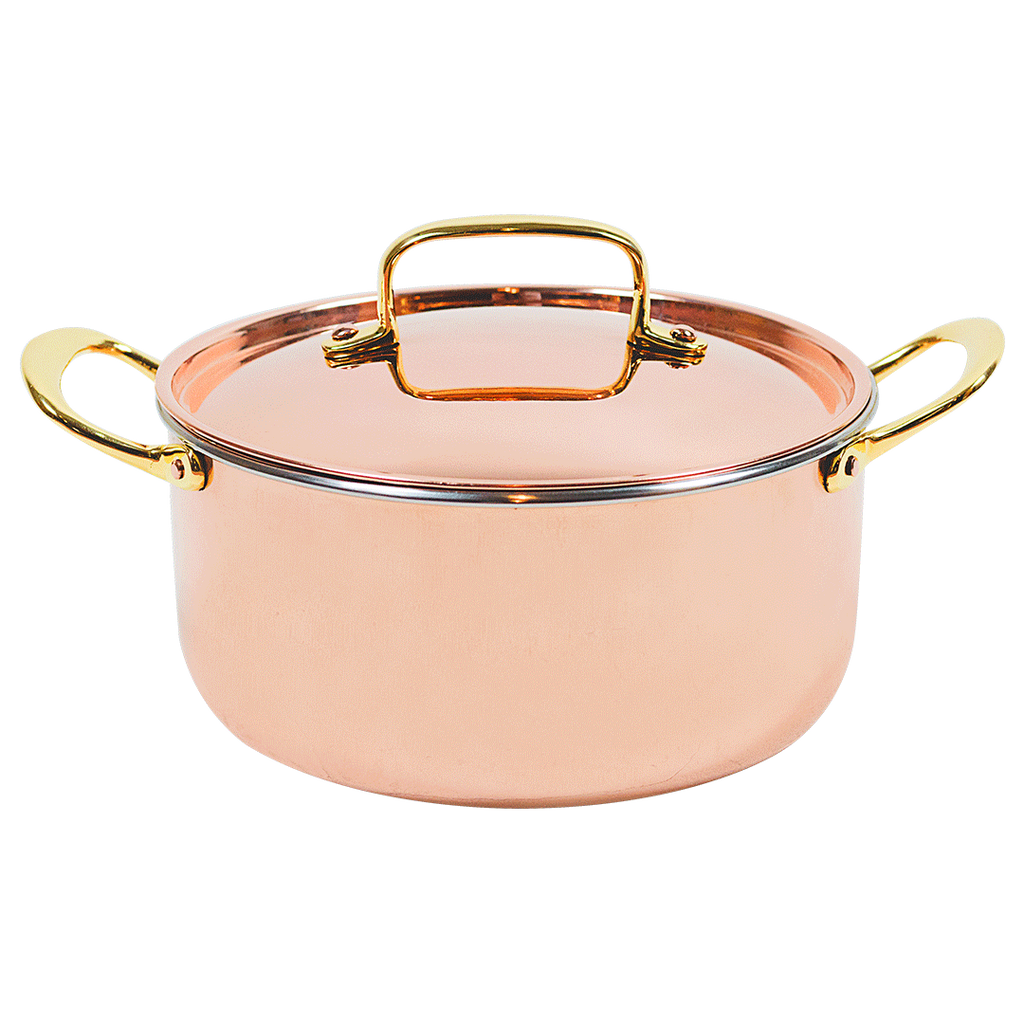 This beautiful stew pot is part of The Mollie Collection all-copper cookware.