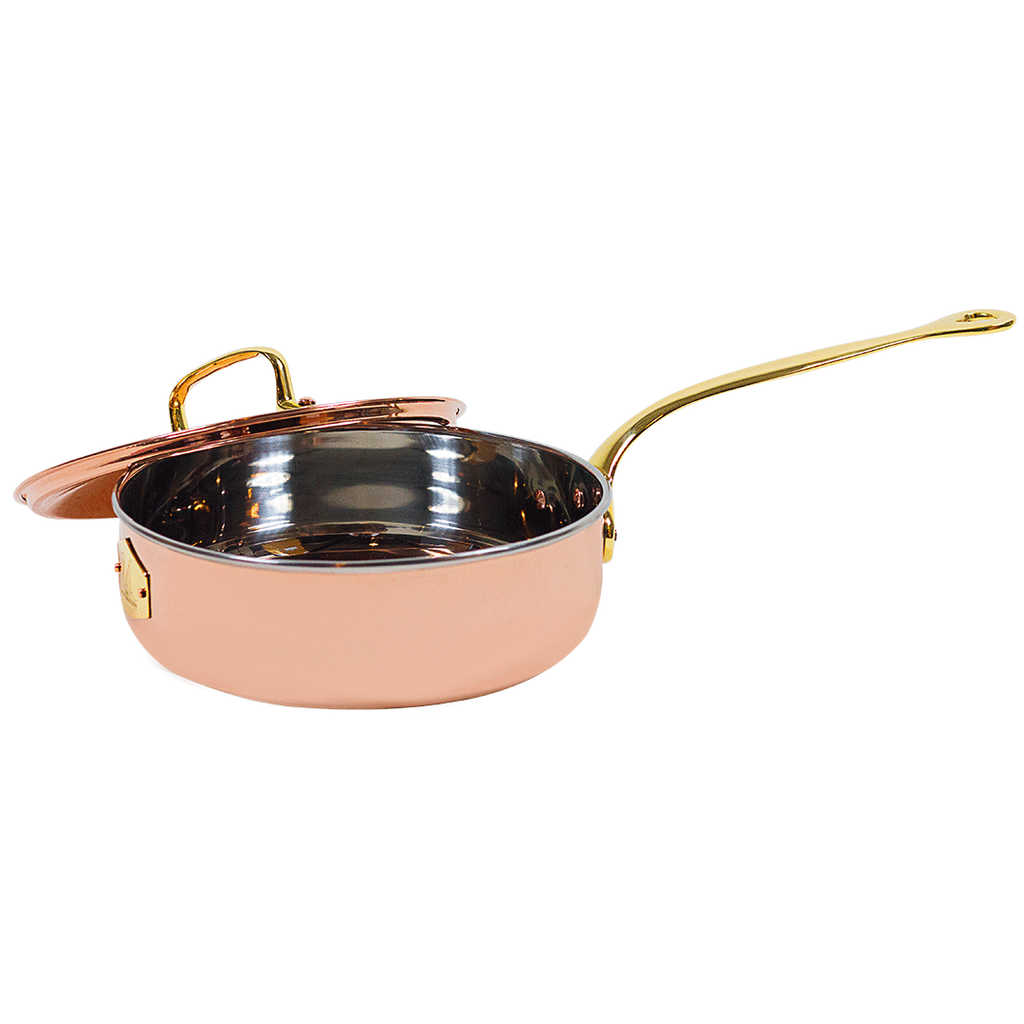 The Mollie Collection 10-inch copper saute pan with lid.