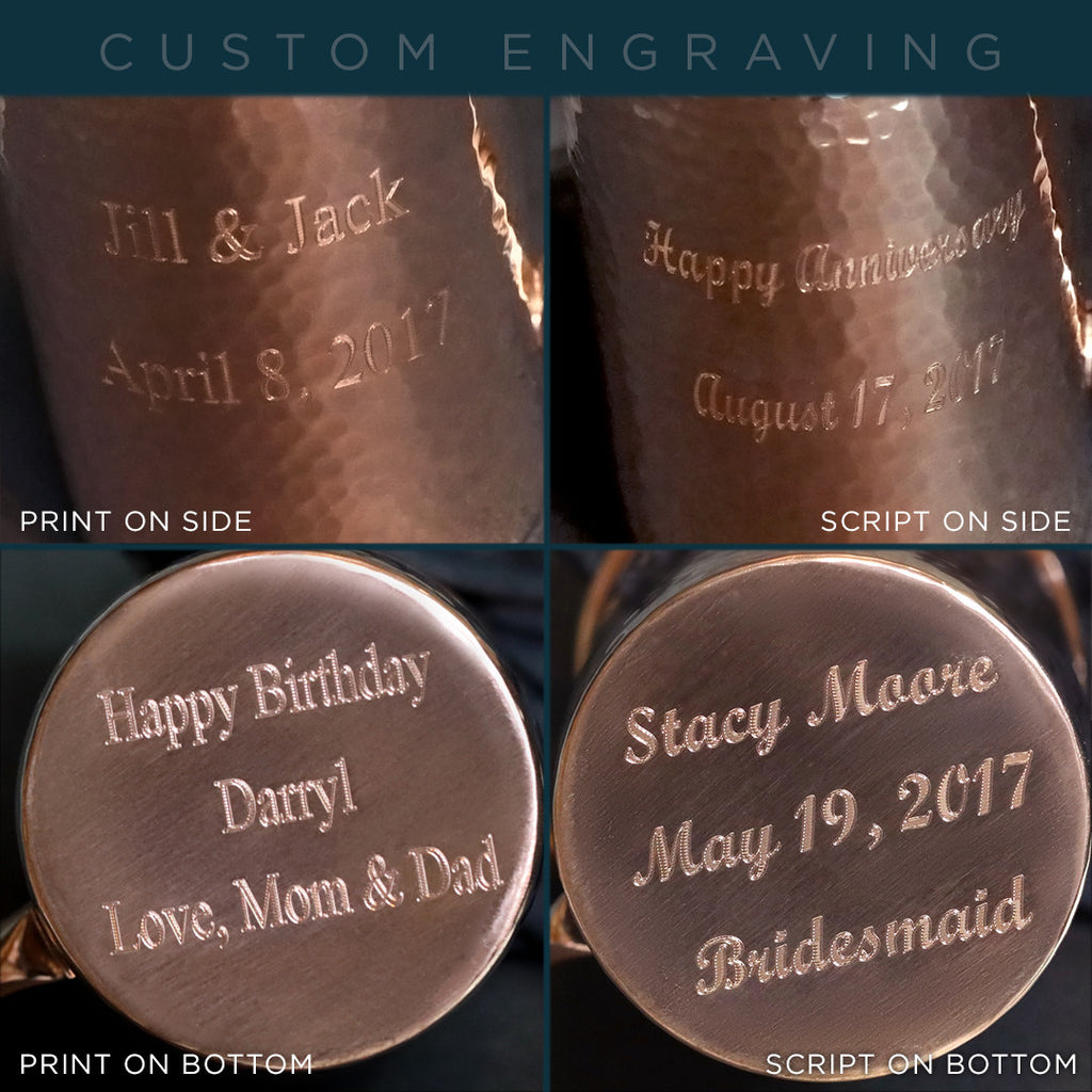 Custom engraving is available on all gift sets of Moscow Copper Co.'s hammered copper mugs.