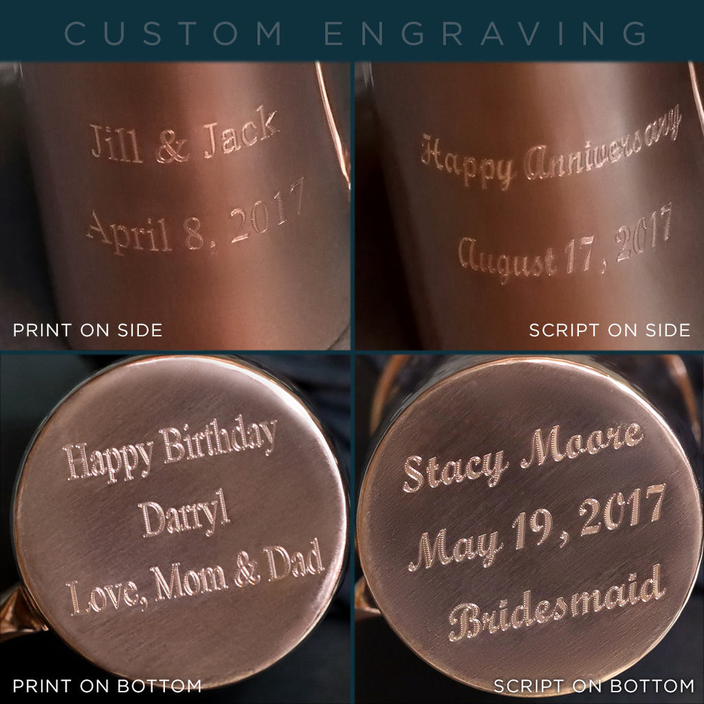 Personalize your Moscow Copper Co. mug gift set even more with custom engraving.