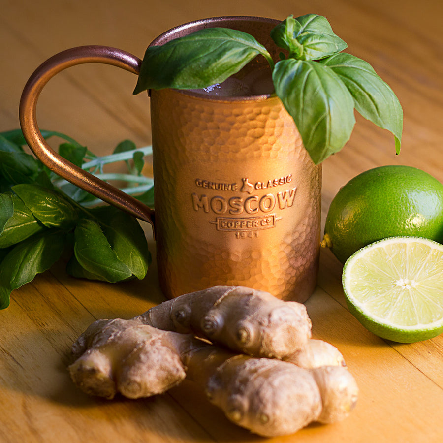 Fresh spices and herbs dress up any mule served in a 100% Original Hammered Moscow Copper Co. mug.