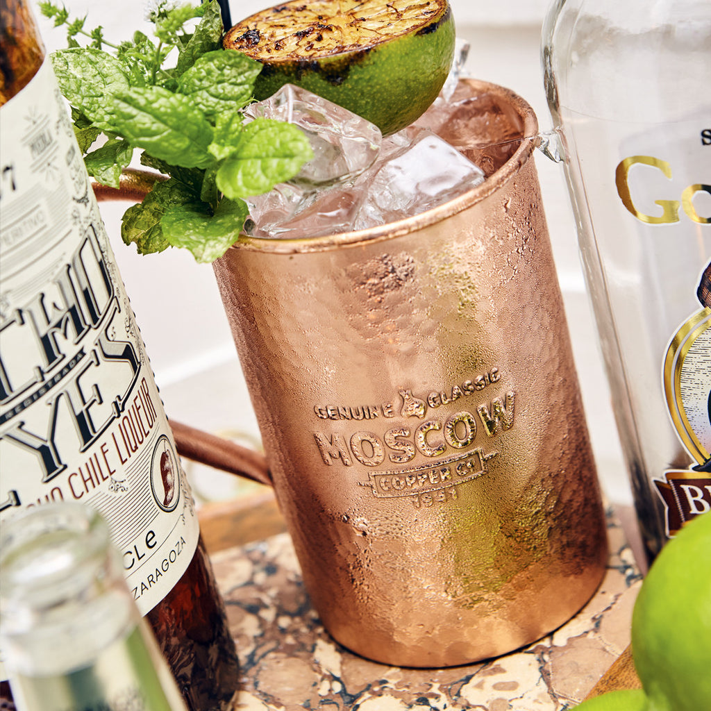 The Moscow Copper Co. hammered copper mug makes an elegant Moscow Mule.