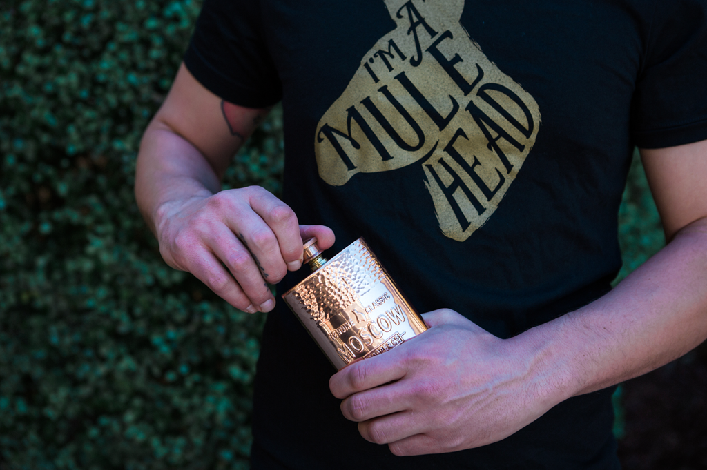 You can easily bring the Moscow Copper Co. 11-ounce hammered flask with you to any special occasion.