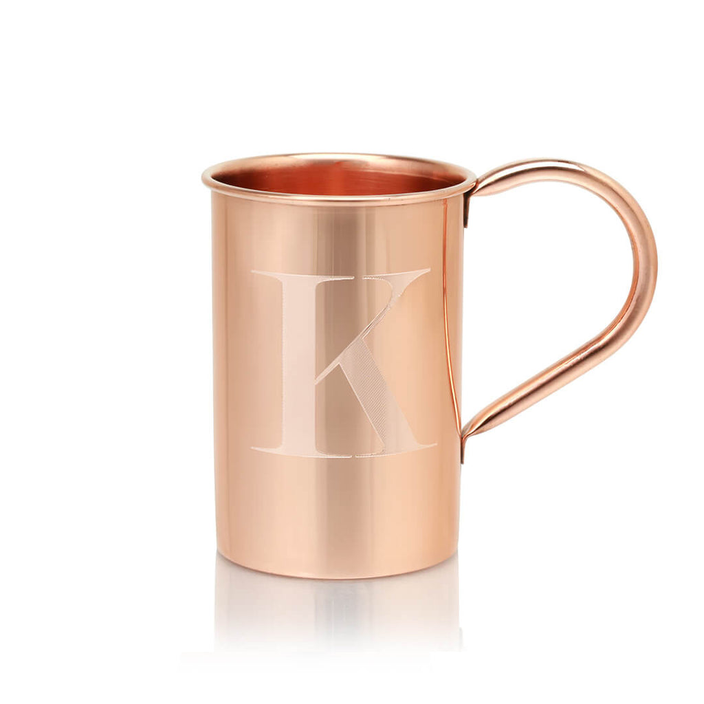 You can get your 100% Copper Mugs engraved with any letter of the alphabet!