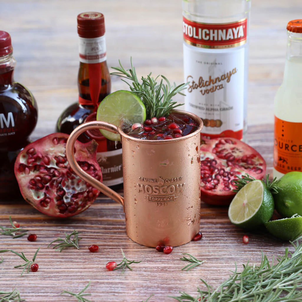 Pomegranate and rosemary are festive touches to bring your Moscow Mule into the holidays.