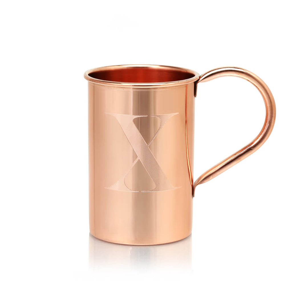 Our copper mugs can be customized with any letter of the alphabet.