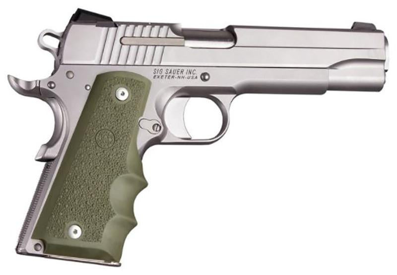 Hogue 1911 Govt. Model OD Green Rubber Grip with Finger Grooves - Rifleworks Shooting Accessories