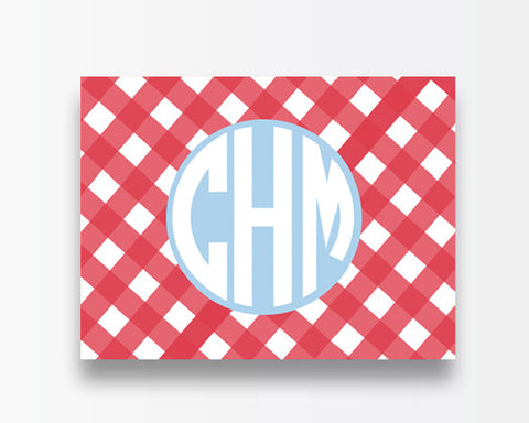 Coral Gingham Notecards