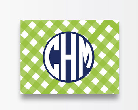 Green Gingham Notecards